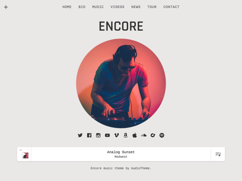 Encore takes a simple and organized approach to presenting your content with understated charm and undeniable appeal. You can display your music and videos in unique, gridded archives; showcase a playlist in a distinct, site-wide player; and much more. Deliver what your fans want with Encore.