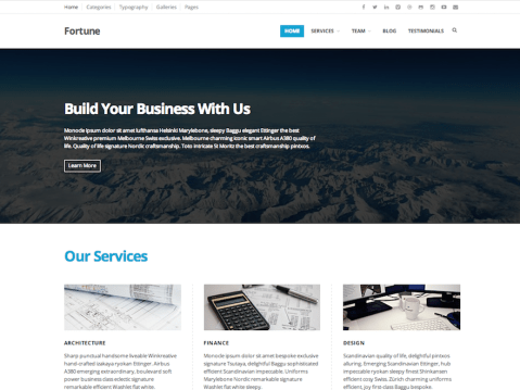 Fortune is a clean, very flexible and fully responsive WordPress Theme, suited for businesses or non-profit organizations.