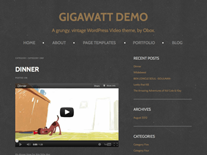 Gigawatt is a clean and bold video display theme that shows off your content in a way that compliments it. Designed especially for film-makers, editors, creatives and professionals working in the motion picture-related industries, Gigawatt can be trusted to display your big screen talents in the best way possible on the small screen.