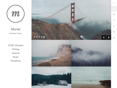 Monet is a delicate responsive grid-layout theme targeted at photographers and other creatives. With crisp typography Monet is easy on the eye.