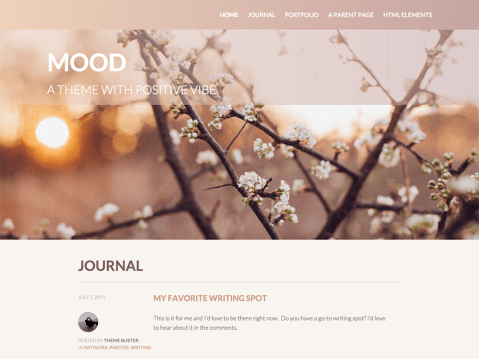Mood is a business theme with positive vibe, equipped with custom front page template, portfolio support, full-width featured images, and much more. Featuring a warm color scheme, clean layouts, and bold typography, Mood will help you build an inviting business or portfolio site.