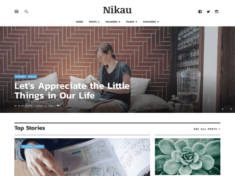 Nikau is a flexible, responsive magazine theme with a modern, bold and beautiful design. You can use the theme to build a unique blog page, showcasing different categories of posts in multiple custom sections. The blog page also contains a prominent 'About' section for you to share information about your site. Customize Nikau further by adding a header image, post slider, a custom menu, or applying one of the theme's custom color palettes.