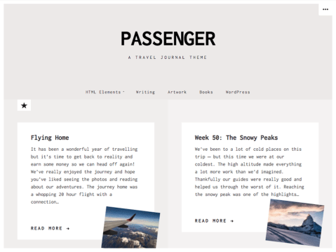 Passenger is a theme designed for travel journals, and scrapbooking sites. With its unique post formats and clean typography, Passenger is great for telling stories.