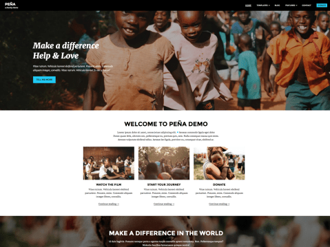 """This theme has been inspired by """"Living on One Dollar"""" documentary we watched one night. We were deeply touched and wanted to somehow contribute to the whole project. As theme developers we decided to develop a WordPress theme to help spread the word about it. Pena is modern, responsive and mobile friendly theme."""