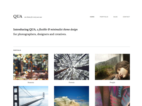 Qua is a flexible, minimalist theme that can be used as a portfolio, blog, or magazine websites.
