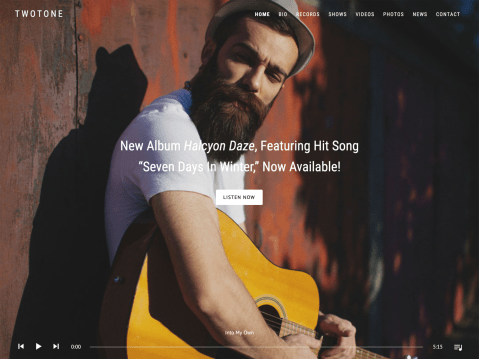 Tone reverberates through your style, your image, and your attitude. And now, with the Twotone audio theme, you can extend that tone to your website. Large header images and an attractive site-wide player provide unlimited potential. Express yourself today with Twotone.