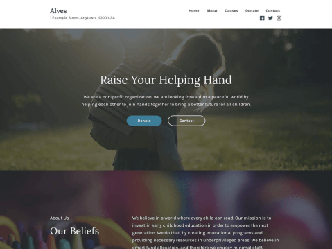 Convincing design for your charity or organization's online presence. Highlight your actions, causes and projects, Alves is versatile enough to be your personal site too.