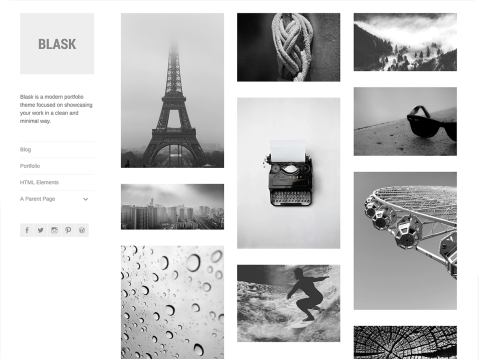 Blask is a modern portfolio theme focused on showcasing your work in a clean and minimal way.