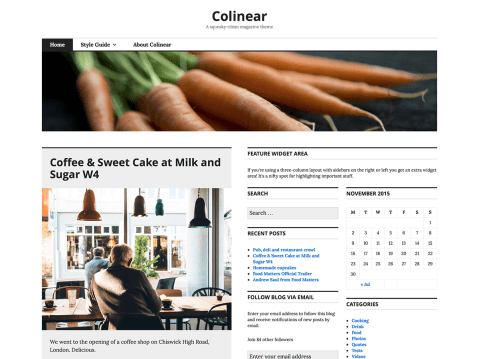 Colinear — our update to the older Coraline — is a squeaky-clean theme featuring a custom menu, header, background, and layout options. Colinear supports featured images and six widget areas — up to three each in the sidebar and footer. Primarily designed for magazine-style sites, Colinear is a flexible theme that suits any personal blog, or content-rich site.