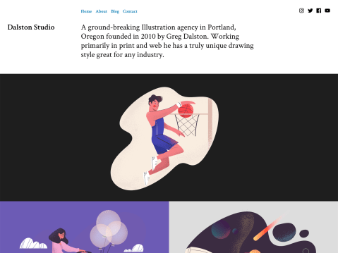Make your online portfolio impressively awesome with Dalston. With the ability to beautifully highlight your illustration and other projects, Dalston is also versatile enough to be your personal site too.