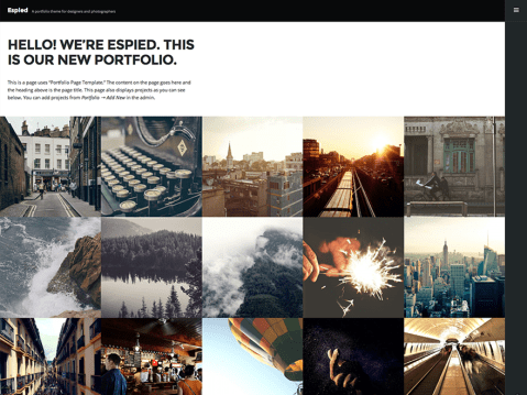 A portfolio theme for designers and photographers. Great for showing off your image oriented projects to the world.