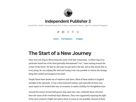 Independent Publisher 2 is a clean and polished theme with a light color scheme, bold typography, and full-width images.