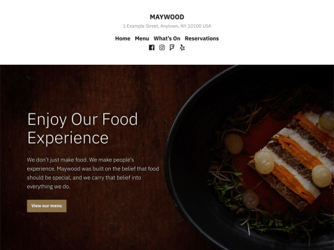 Maywood is a refined theme designed for restaurants and food-related businesses seeking a modern look.