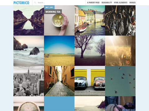 A single-column, grid-based theme with large featured images and a post slider, perfect for a photoblogging or travel site.