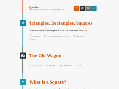 Quadra is a tumblelog-style theme for your personal blog. Featured images are supported, and different post formats are highlighted with a unique icon in a square shape. The design is responsive and looks great on any device, large or small.