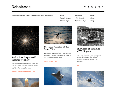 Rebalance is a new spin on the classic Imbalance 2 portfolio theme. It is a simple, modern theme for photographers, artists, and graphic designers looking to showcase their work.