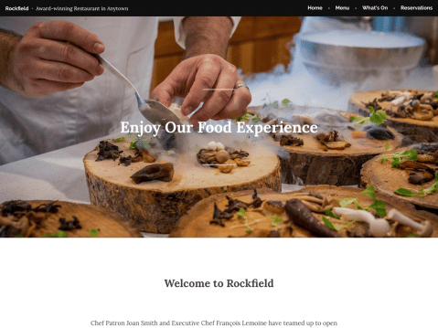Rockfield is a refined theme designed for restaurants and food-related businesses seeking a classic, elegant look.