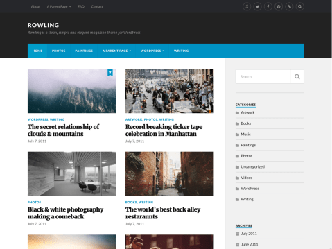 Rowling is a clean, simple and elegant magazine theme for WordPress. It features a responsive design, great typography, three menu locations including a social menu support, custom color support, custom logo support, and a gallery post format support.