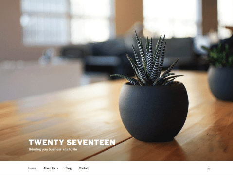 Twenty Seventeen brings your site to life with header video and immersive featured images. With a focus on business sites, it features multiple sections on the front page as well as widgets, navigation and social menus, a logo, and more. Personalize its asymmetrical grid with a custom color scheme and showcase your multimedia content with post formats. Our default theme for 2017 works great in many languages, for any abilities, and on any device.