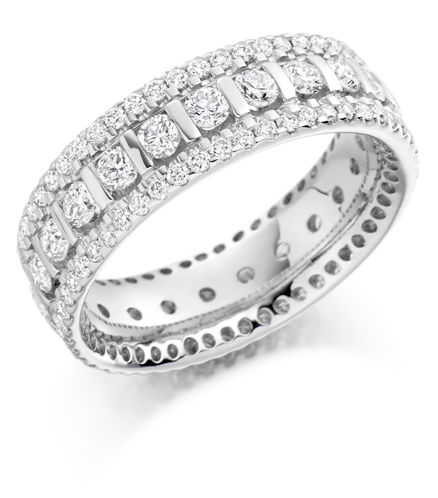 Graduated Triple Row Diamond Set Ring FET