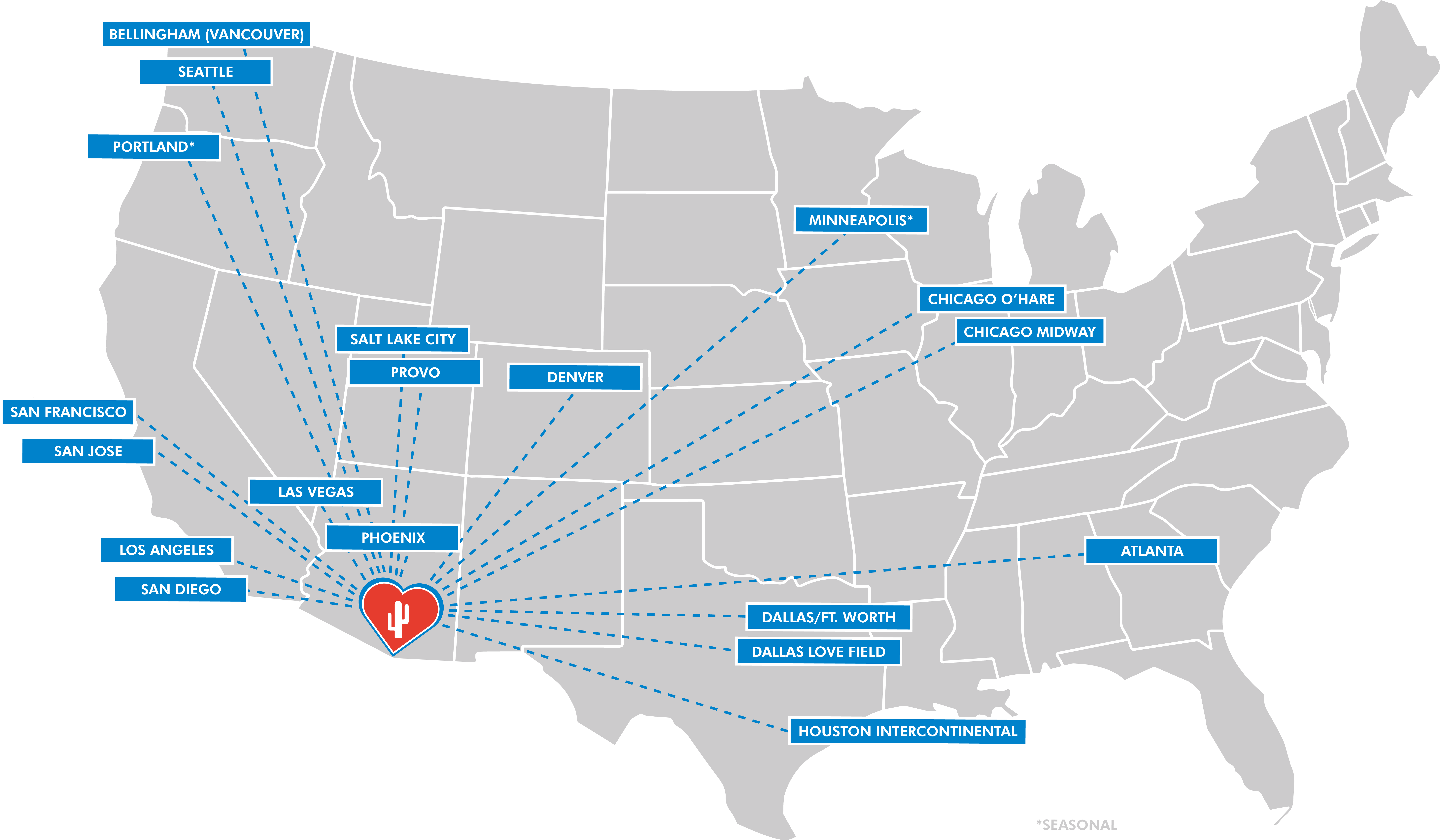Nonstop Destinations To From Tucson International Airport