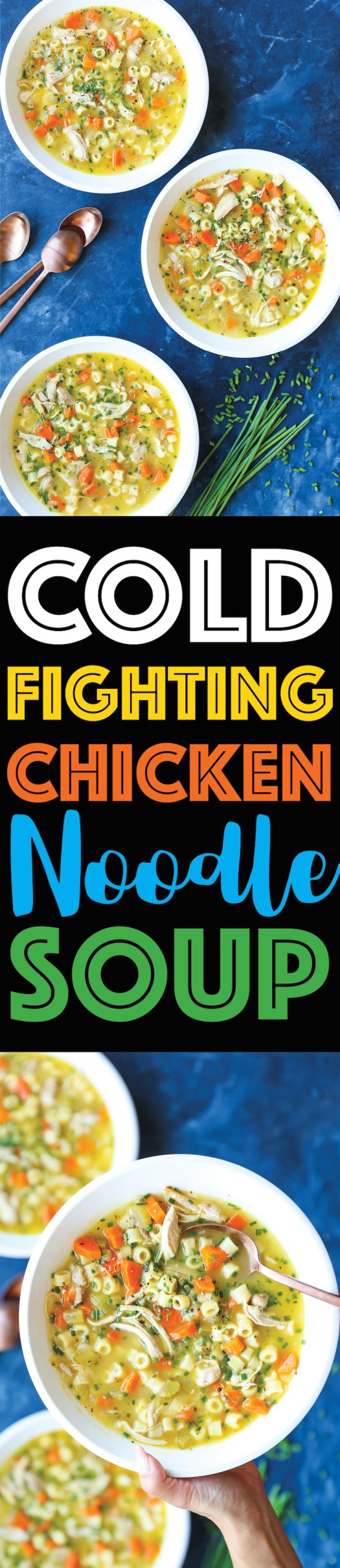 Cold Fighting Chicken Noodle Soup - The most soothing, comforting, cozy soup for the flu season! Quick/easy to make, you'll be feeling better in no time!
