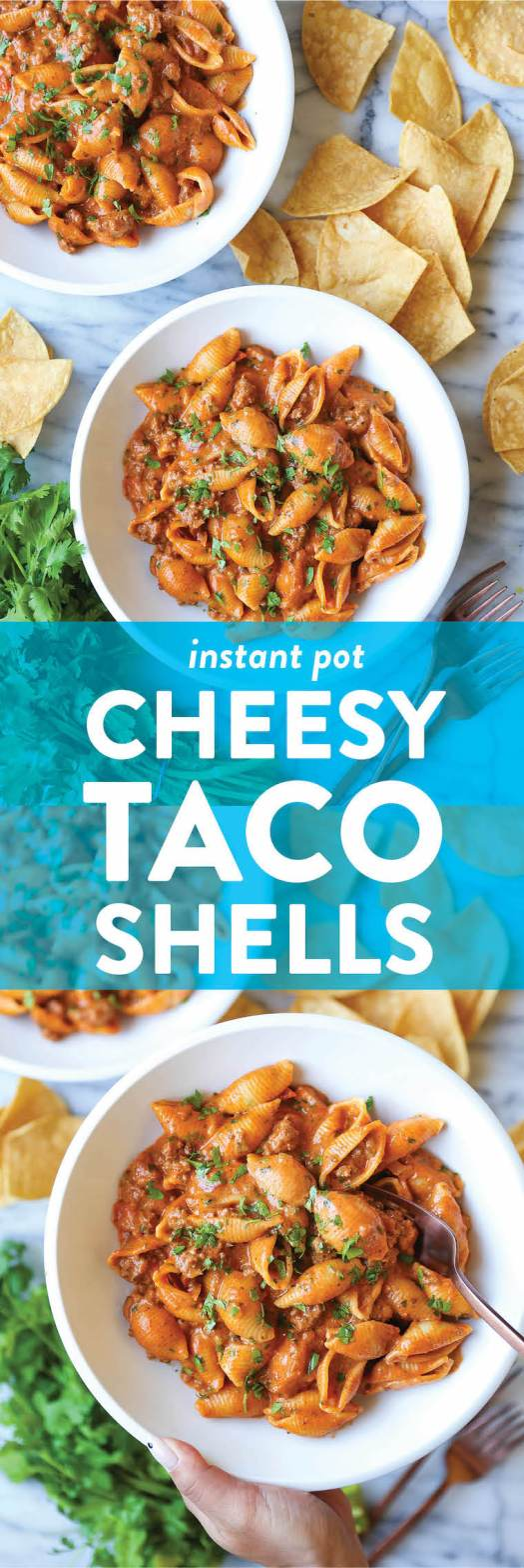 Instant Pot Cheesy Taco Shells - ONE POT DINNER! So creamy, cheesy and full of taco flavors using ground beef. Quick, simple + so bomb for the whole family!
