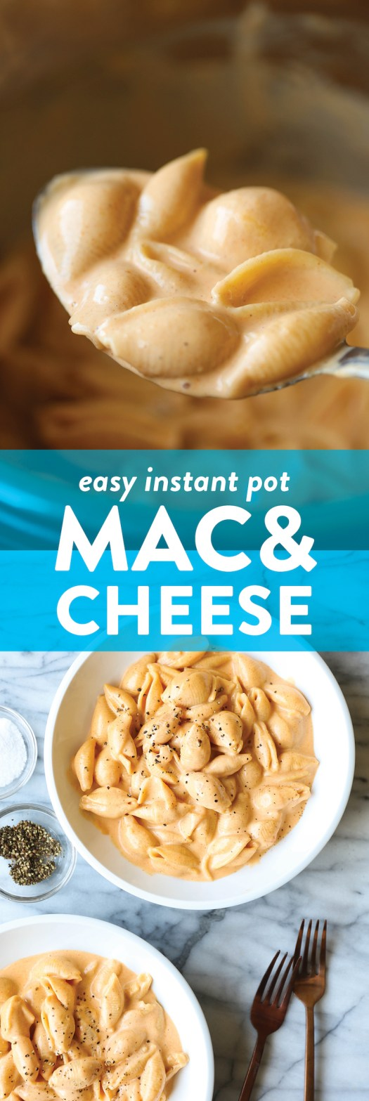 Easy Instant Pot Mac and Cheese - A super short ingredient list with just 6 min in the pressure cooker! So easy, quick, and unbelievably creamy. SO SO GOOD.