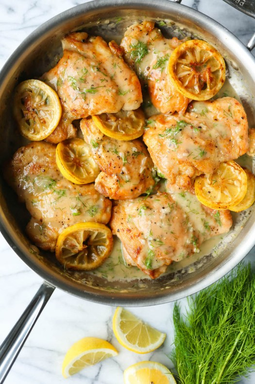 Skillet Lemon Dill Chicken Thighs - A speedy dinner made in 30 min from start to finish! Served with the most heavenly lemon dill cream sauce of your life.