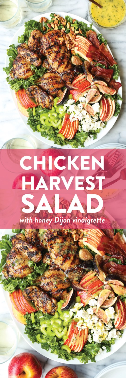 Chicken Harvest Salad - Juicy, tender chicken, crisp bacon, apples, figs and almonds with a honey Dijon vinaigrette. The ultimate, feel-good autumn salad!!