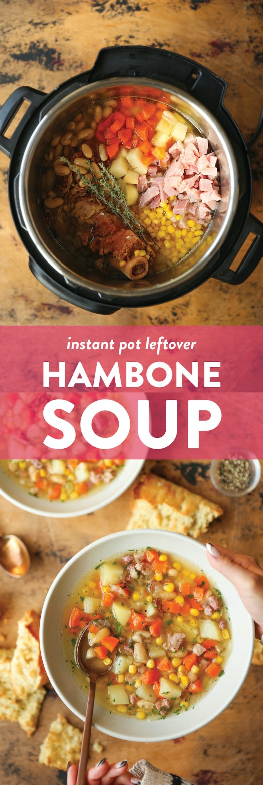 Instant Pot Leftover Hambone Soup - The best way to use up leftover ham! With the most flavorful broth, this hearty, cozy soup is so simple yet SO SO GOOD.