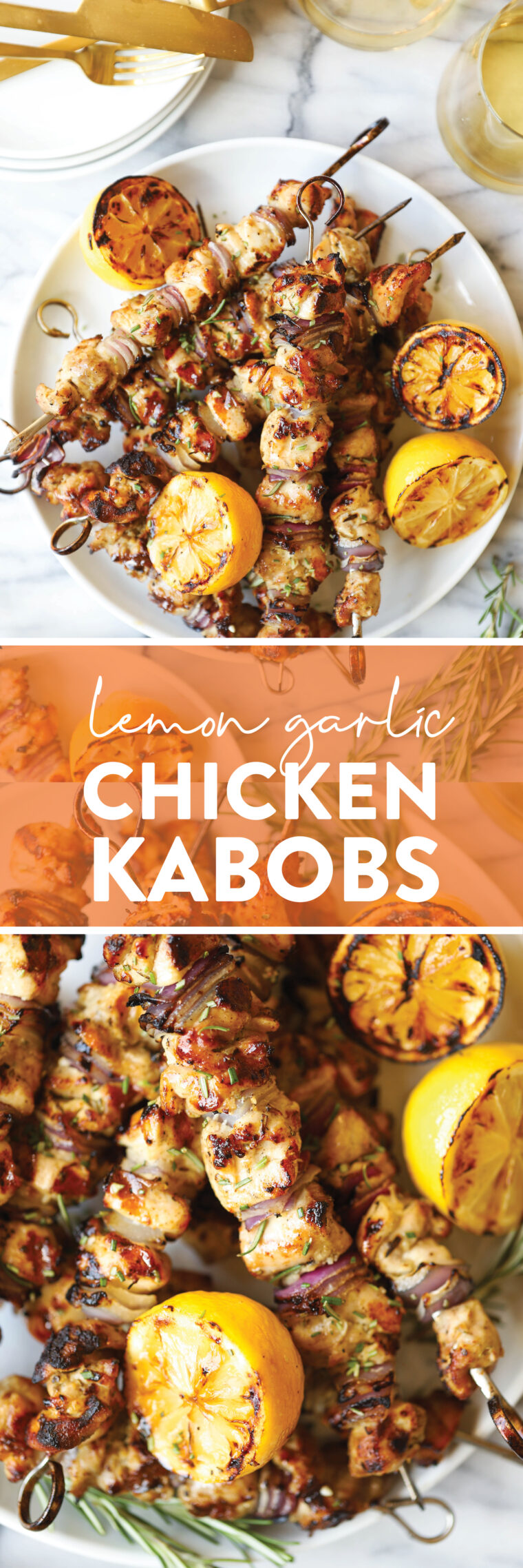 Lemon Garlic Chicken Kabobs - With the most heavenly lemony-garlicky marinade, these kabobs will be made all the time! So tender, so juicy!