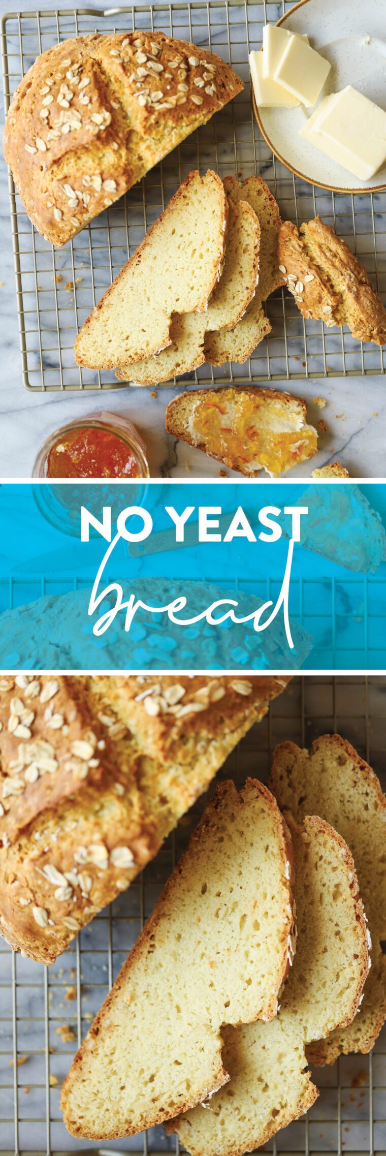 No Yeast Bread - Yes, you can make beautiful homemade rustic bread WITHOUT the yeast, proof, or rise. Made so quickly + easily. AND SO GOOD.