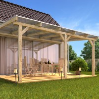 Solid Wood Canopy Set Roof Polycarbonate Sheet Garden ...