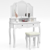 Dressing Table + Stool Makeup Table Storage Mirror Bedroom ...
