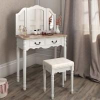 Dressing Table + Stool Makeup Table Storage Mirror Bedroom ...