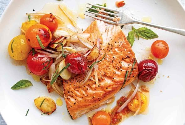 Salmon with Blistered Cherry Tomatoes