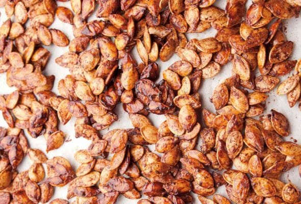 A layer of toasted, spiced pumpkin seeds