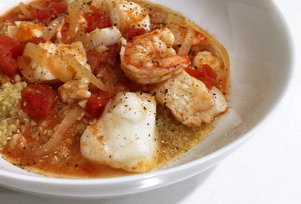 Cod and Shrimp Stew with Quinoa