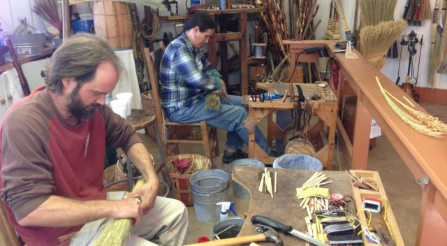 Students making brooms