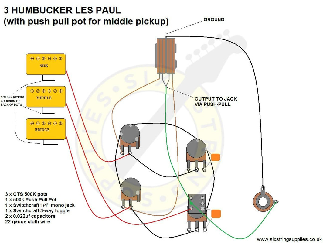 hight resolution of six string supplies 3 humbucker les paul wiring rh sixstringsupplies co uk les paul classic wiring diagram gibson les paul push pull wiring diagram