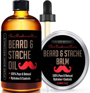 Beard Oil & Beard Balm Mens Gift Set - ( 2 oz + 1.75 oz) - All Natural Beard Conditioner (Beard Oil - Argan & Apricot Oil) (Balm -Musk & Amber) - Style, Shape and Moisturize Beard & Mustache
