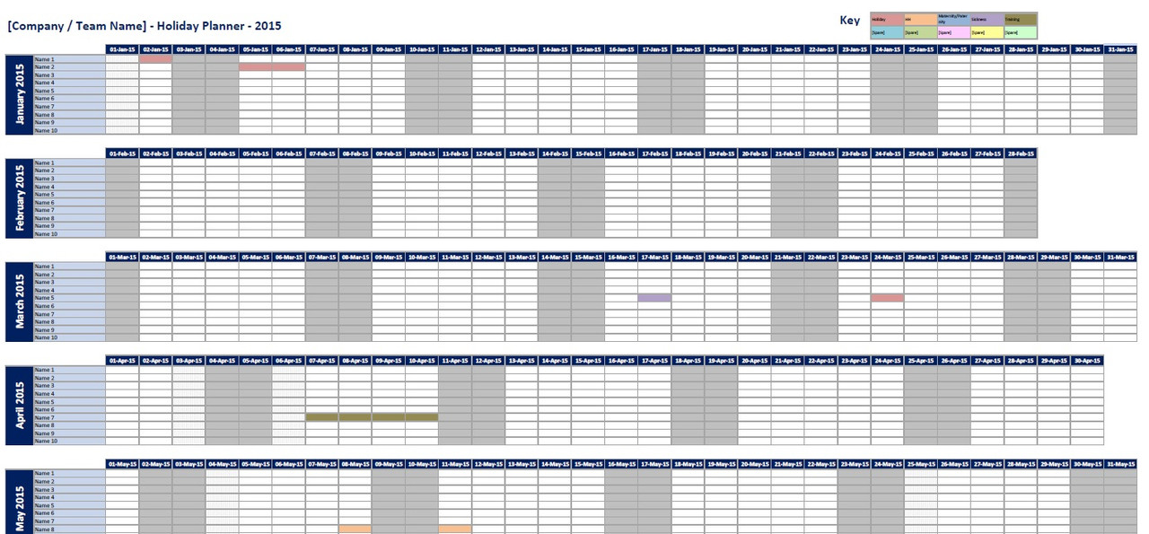 calendar planner excel