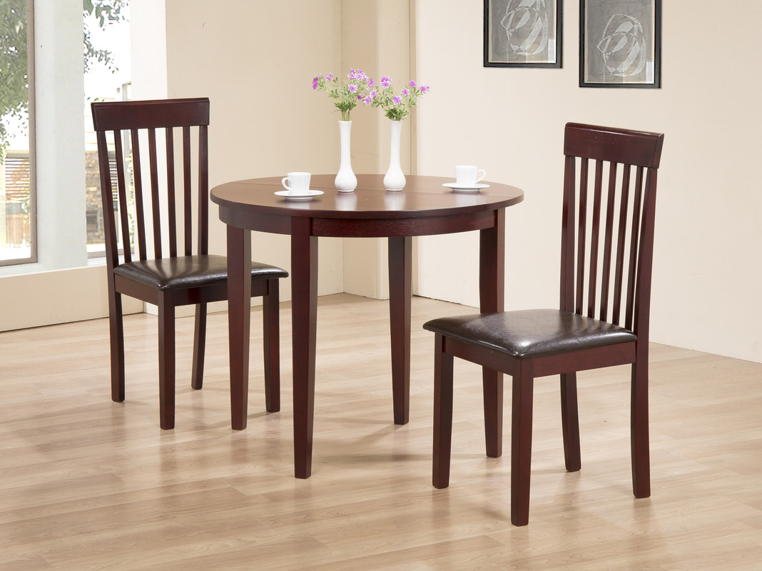 Table With Two Chairs Details About Kitchen Dining Table Extending Folding Round Table Two Chairs Mahogany Finish