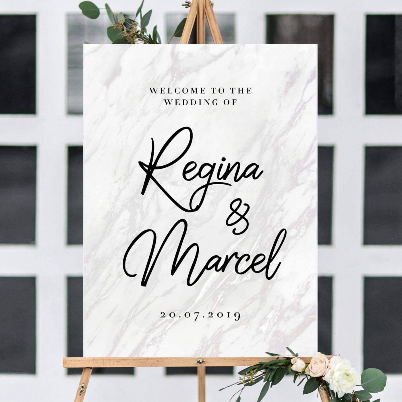 wedding welcome sign design 15 marble foam board