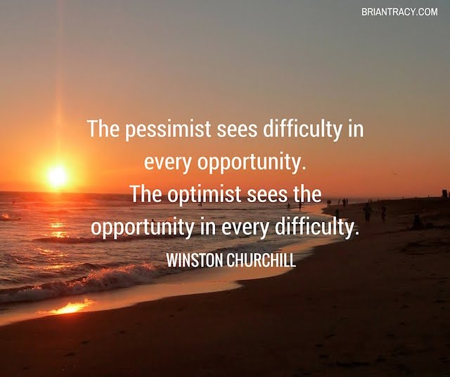 inspirational sunset with quote by Winston Churchill about optimism in life