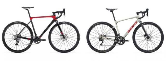 シクロクロス(左、Giant TCX ADVANCED PRO 1)とグラベルロード(右、Giant REVOLT ADVANCED 2)。グラベルロードは担ぐことを想定していないため、トップチューブは振動吸収や乗りやすさを重視した設計となっている。 Image:GIANT