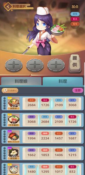 「幻想レストラン」クエストの料理選択画面