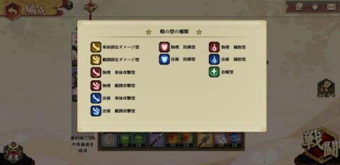 「剣が刻」戦の型の種類のリスト