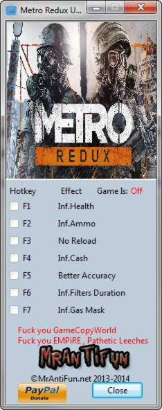 Metro 2033 Redux Trainer : metro, redux, trainer, Metro, Trainer, Mrantifun, Peatix